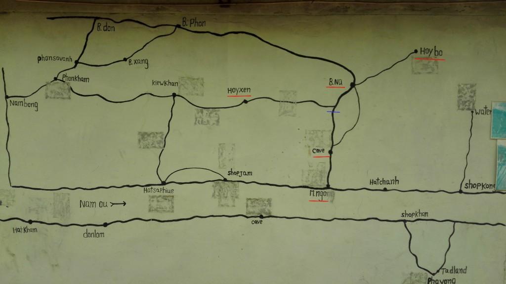 carte de muang ngoi avec randonnées