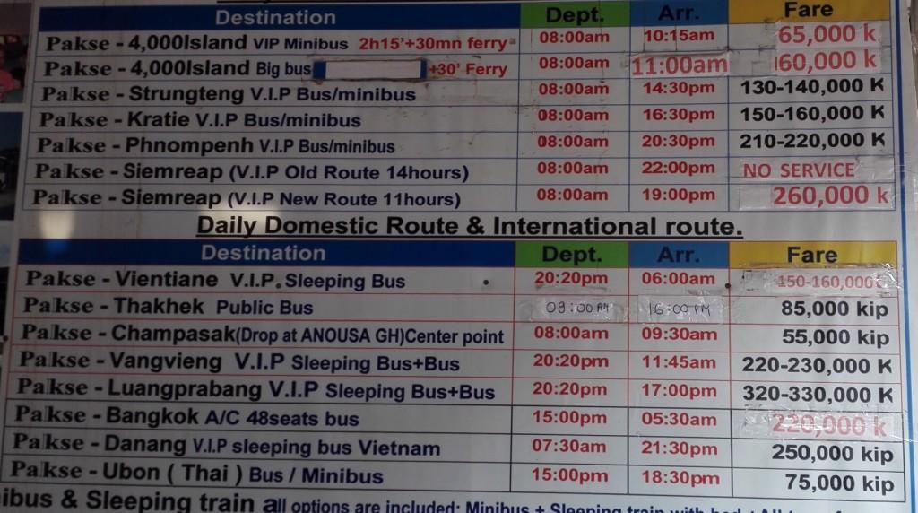 Horaire et prix des bus au départ de Paksé.
