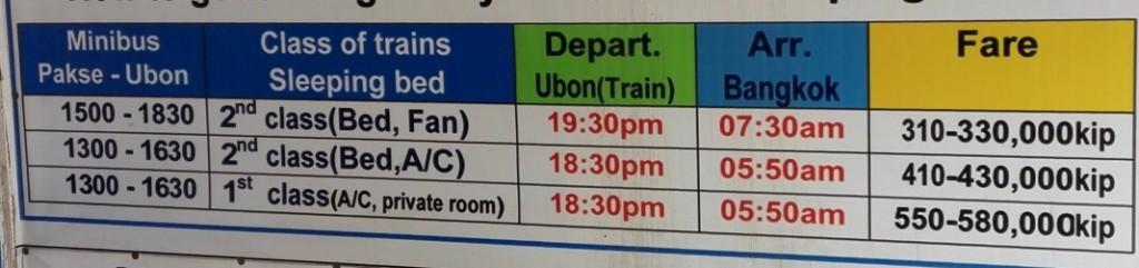Horaires et prix des bus de Paksé à Bangkok
